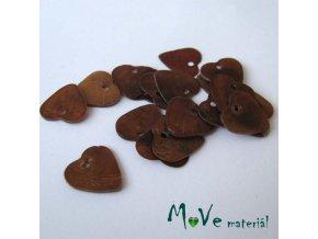 Perleťové penízky srdíčka 13mm, 6ks, hnědé