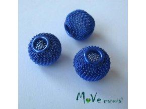 Korálek drátěný se širokým průvlekem 1 kus, modrý