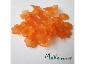 Transparentní akrylové kytičky 12x3mm, 30ks, oranžové
