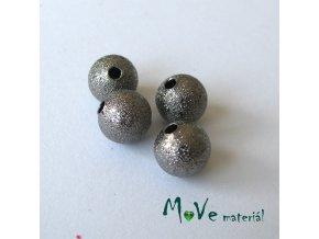 Korálek kovový zvrásněný 8mm, antracit, 4ks
