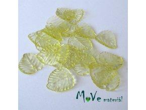 Akrylové transparentní lístečky, 20ks, žluté