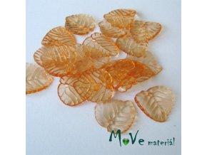 Akrylové transparentní lístečky, 20ks, oranžové
