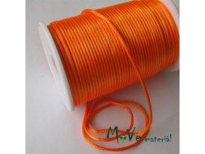 Šňůra 2mm saténová reflexní oranžová,1m