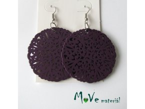 Náušnice dřevěné 50mm kruhy filigrán, fialové