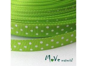 Stuha rypsová puntík 10mm 1m, zelená
