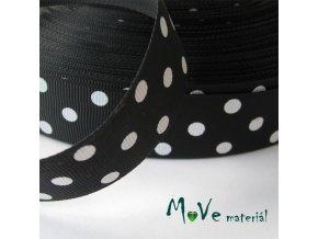 Stuha rypsová puntík 25mm 1m, černá