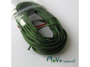 Šňůra voskovaná bavlněná 1mm, 5m, tm. zelená