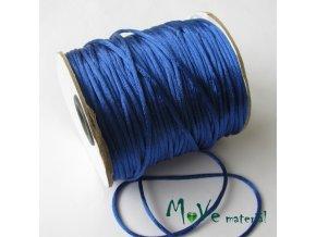 Šňůra 2mm saténová, zářivě modrá, 1m