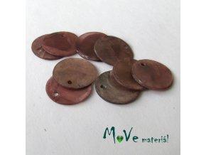 Perleťové penízky 15mm, 10ks, hnědo-fialové