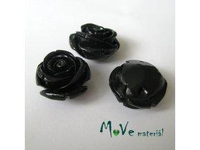 Resinový korálek RŮŽE, 1ks, černá