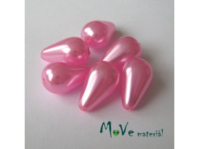 České voskové perle kapky 18x11mm, 6ks, růžové