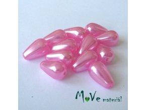 České voskové perle kapky 12x8mm, 12ks, růžové