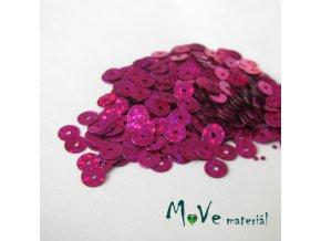 Flitry hladké holograf. 6mm, 5g, růžové