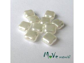 České voskové perle čtvereček 10 ks, bílá