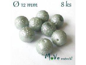 "Voskové perle ""Zigana"" 12mm, 8ks, šedomodré"