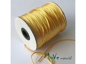 Šňůra 2mm saténová, zlatožlutá, 1m