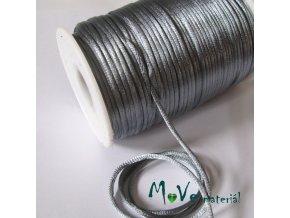 Šňůra 2mm saténová šedá,1m