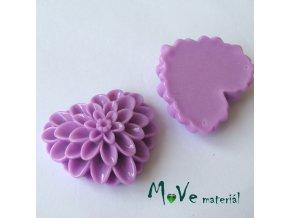 Kabošon srdce lesklý - resin - 1ks, fialový
