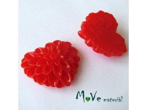 Kabošon srdce lesklý - resin - 1ks, červený