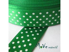 Stuha saténová - puntíky 20mm, 1m, zelená