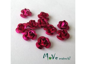 Korálek růžička 6mm, 10ks tmavě růžová