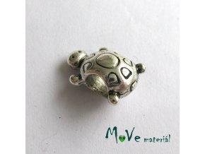 Korálek kovový želvička, 1 kus, starostříbro