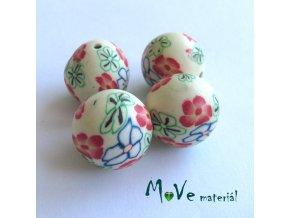 Fimo korálky 14mm, 4 kusy, krémové s květy