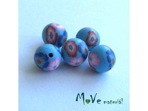 Fimo korálky 10mm, 5kusů, modrorůžové