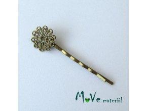 Vlasová spona filigrán květ 16mm, bronz, 1ks
