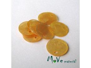 Perleťové penízky 13mm, 10ks, tm. žluté