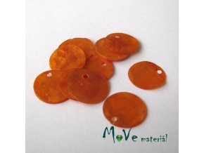 Perleťové penízky 13mm, 10ks, oranžové