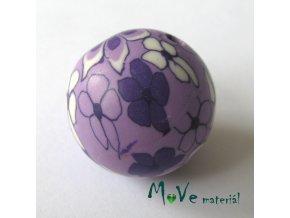 Fimo korálek 25mm, 1kus, fialový