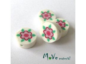 Fimo korálky 10mm, 4kusy, růžový květ