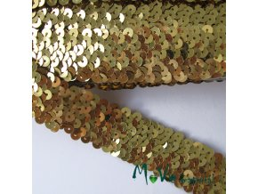 Prýmek šíře 30mm elastický s flitry, 0,5m, zlatý
