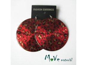 Náušnice plastové 65mm kruhy leopardí červené