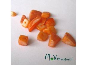 Perleťové zlomky vrtané, 10-11g, oranžové