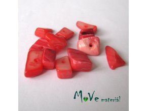 Perleťové zlomky vrtané, 10-11g, červené