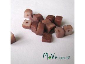Perleťové zlomky vrtané, 10-11g, hnědé
