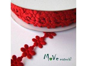 Aplikace květinky červená - šíře 10mm, 1m