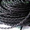 Splétaná šňůrka z umělé kůže, 1m, černá