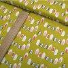 Bavlněné plátno - Domečky, hořčicová - šíře 160cm/1bm