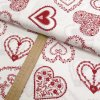 Bavlněné plátno - Srdce červená na krémově bílé - šíře 150cm/1bm
