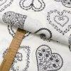 Bavlněné plátno - Srdce šedá na krémově bílé - šíře 150cm/1bm