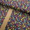 Úplet - Puntíky červené, žluté, růžové, modré na šedé - šíře 150cm/1bm