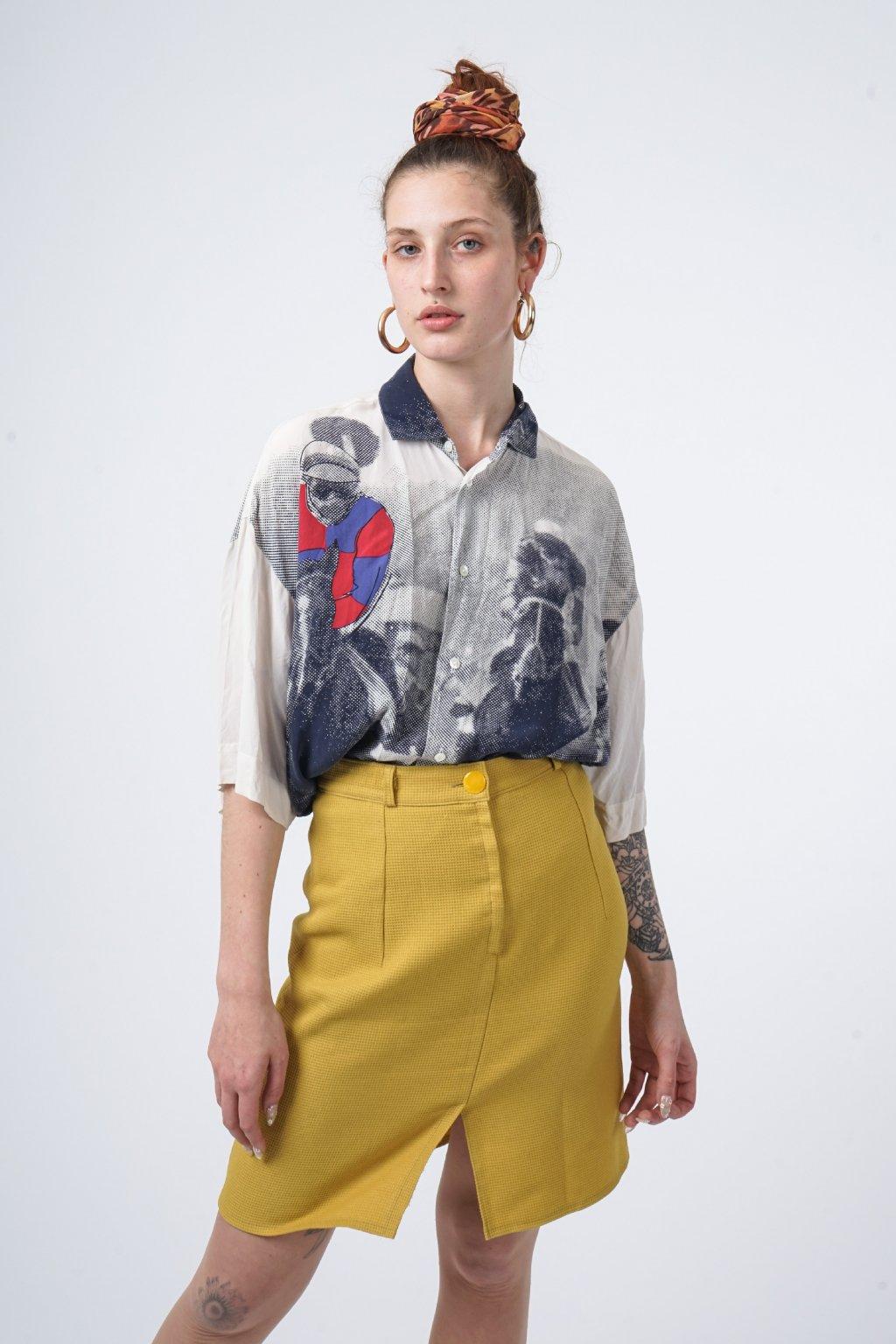 Žlutá vintage sukně