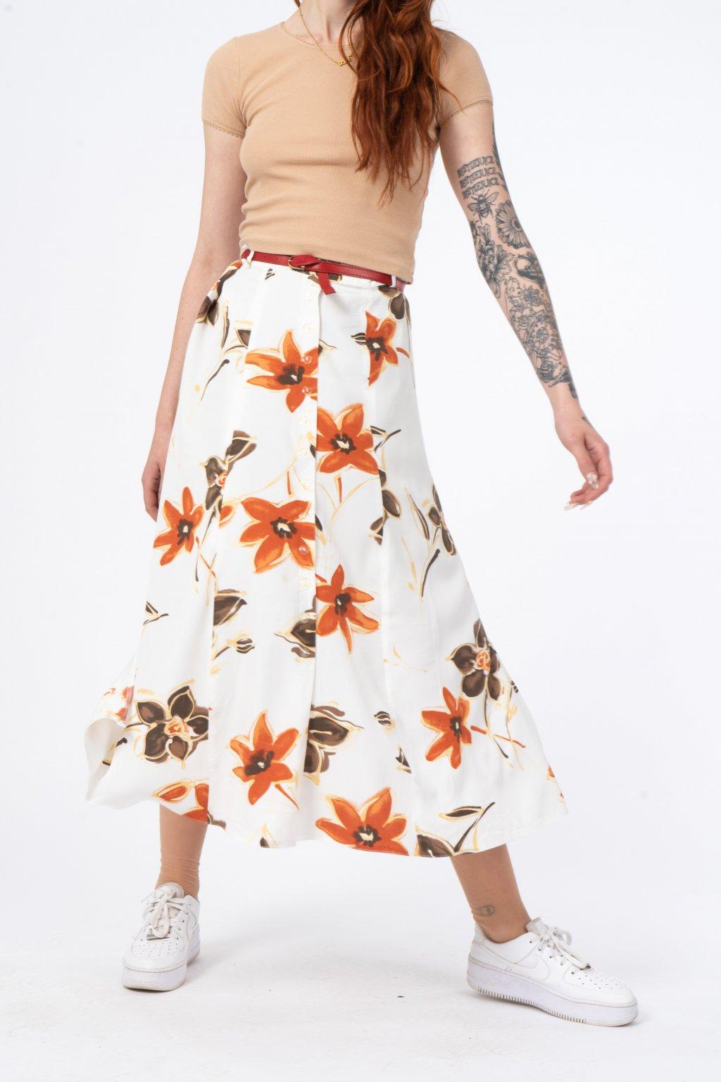 Květovaná vintage sukně
