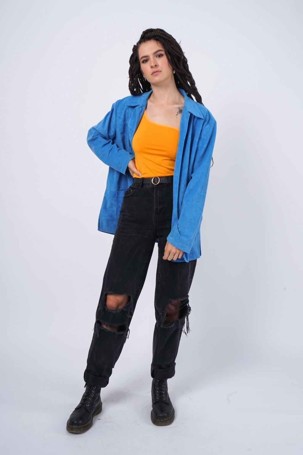 "Vintage ""semišové"" sako modré"