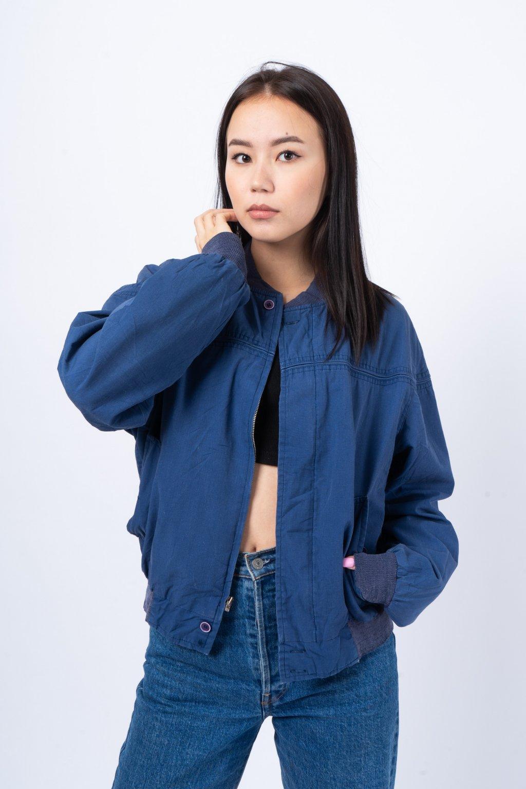Vintage bomber jacket modrý