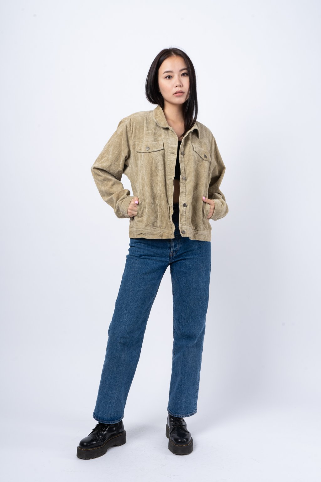 Vintage manšestrová bunda krémová