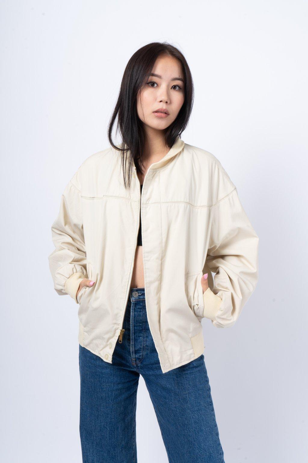Vintage bomber jacket krémový